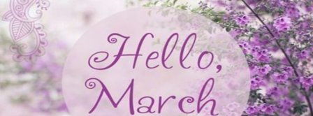 Hello March Purple Flowers Facebook Covers