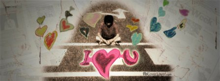 I Love You Drawn With Chalk Facebook Covers