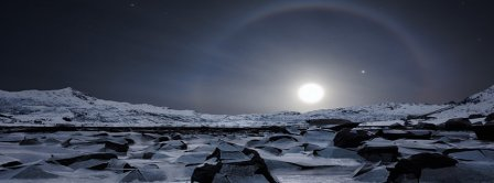 Icy Planet With Moon Light Facebook Covers