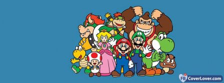 Mario Bros Luigi Yoshi Princess Peach Donkey Toad Kong Monkey Facebook Covers