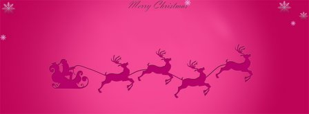 Merry Christmas Pink Reindeer Santa Facebook Covers