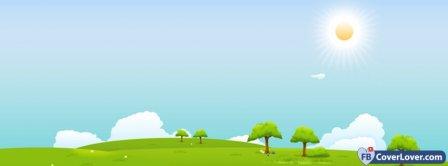 Nature Scenic Hills Sunshine Cartoon  Facebook Covers