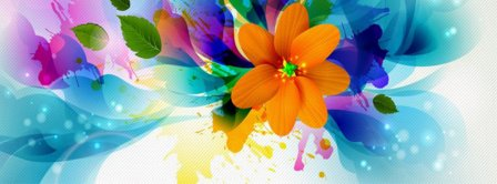 Orange Flower Abstract Drawing Facebook Covers
