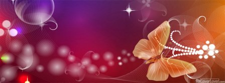 Pink Butterfly Orange Art Creative Facebook Covers
