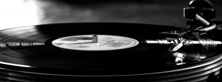 Retro Black And White Turntable Vintage Facebook Cover