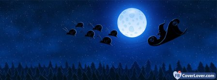 Santa Sleigh Snails Holidays Facebook Covers