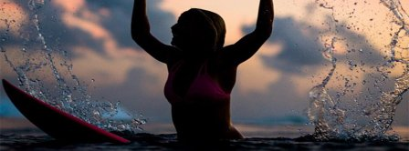 Surf Girl Splashing Facebook Covers