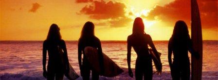 Surf Girls Sunset  Facebook Covers