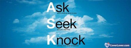 Ask Seek Knock Matthew 7:7 Bible Verse  Facebook Covers