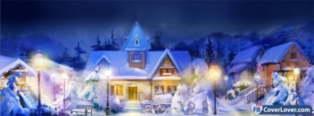 Cozy Winter Town Facebook Covers