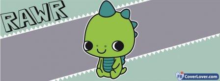 Cute RAWR Green Dino  Facebook Covers
