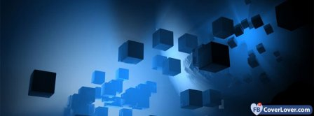 Falling Blue Cubes  Facebook Covers