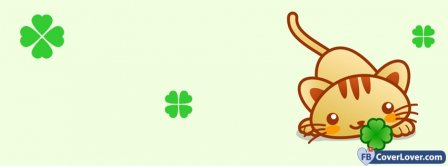 Saint Patrick Four Leaf Clover Kitty Facebook Covers