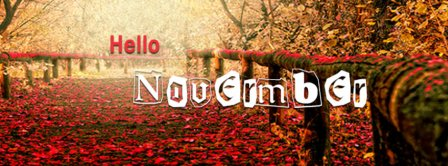 Hello November Path With Leaves Facebook Covers