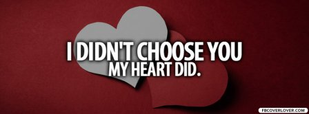 I Didnt Choose You My Heart Did Facebook Covers