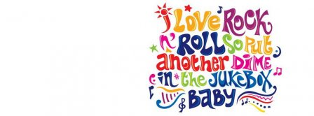 Colorful I Love Rock N Roll quote Facebook Covers