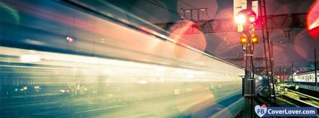 Night Japan Railroad Lights  Facebook Covers