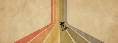 Vintage Retro Striped Skateboard Facebook Covers