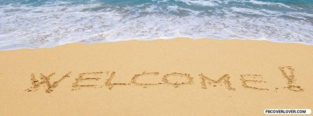 Welcome Summer Written In The Sand  Facebook Covers